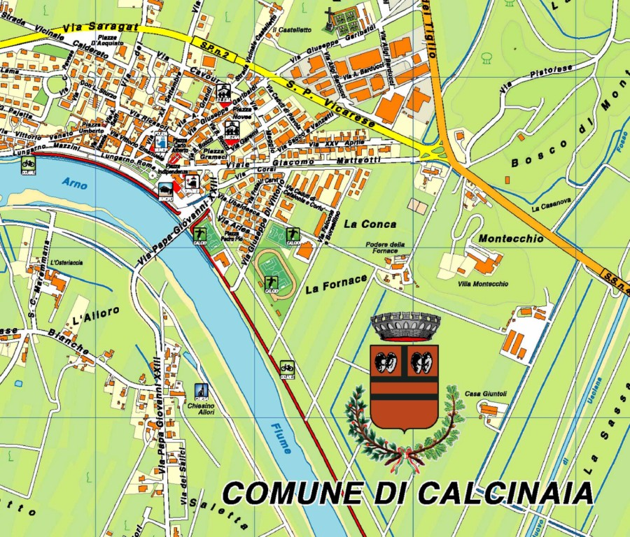 Cartina del Comune di Calcinaia